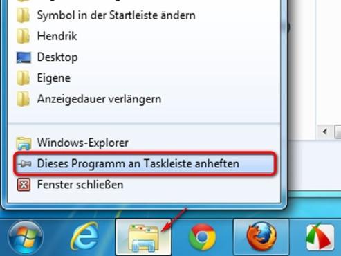 Heften Sie das Programm wieder an die Taskleiste an ©Microsoft