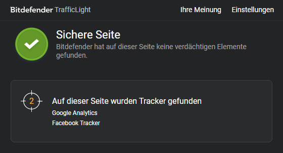 Screenshot 1 - Bitdefender TrafficLight für Firefox