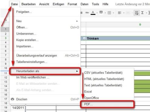 Wählen Sie einen Dateityp zum speichern ©Google