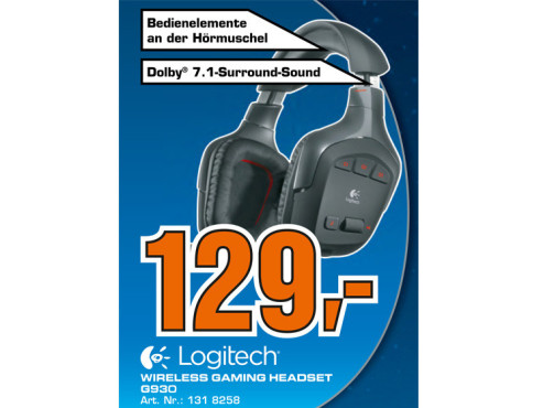 Logitech Wireless Gaming Headset G930 (981-000258) ©Saturn