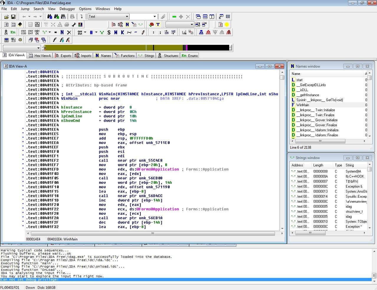 Screenshot 1 - IDA Pro Freeware