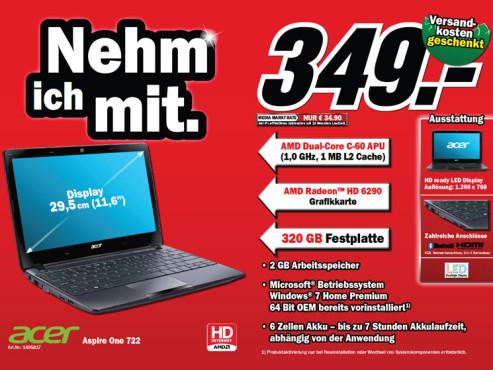 Acer Aspire One 722 schwarz (LU.SFT02.145) ©Media Markt