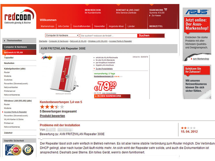 Bewertung Online Shops
