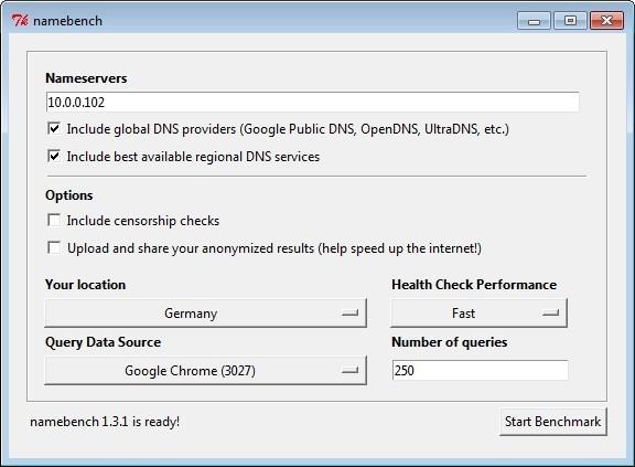 Screenshot 1 - Namebench