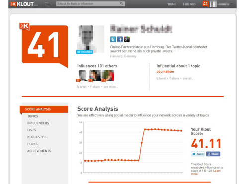 Screenshot Klout © COMPUTER BILD