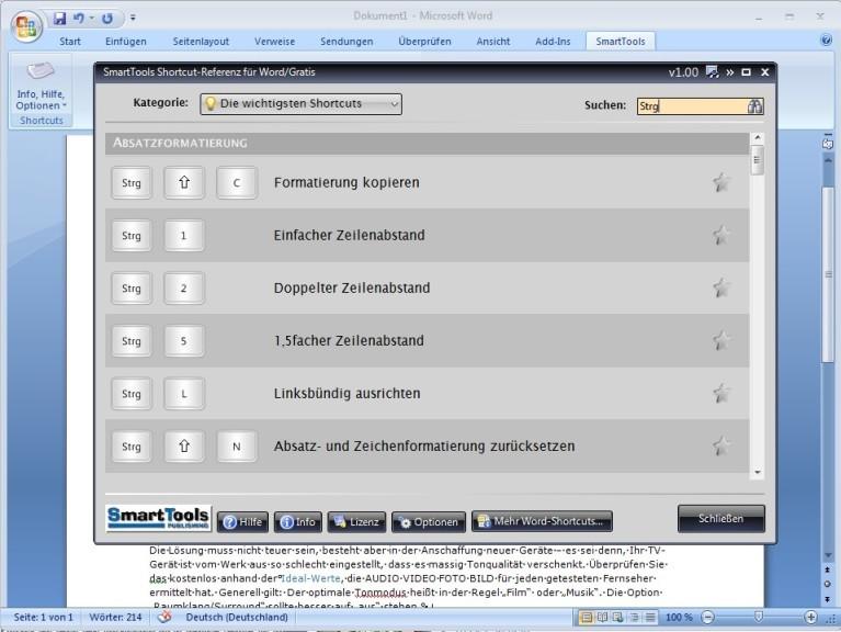 Screenshot 1 - SmartTools Shortcut-Referenz für Word