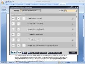 SmartTools Shortcut-Referenz für Word