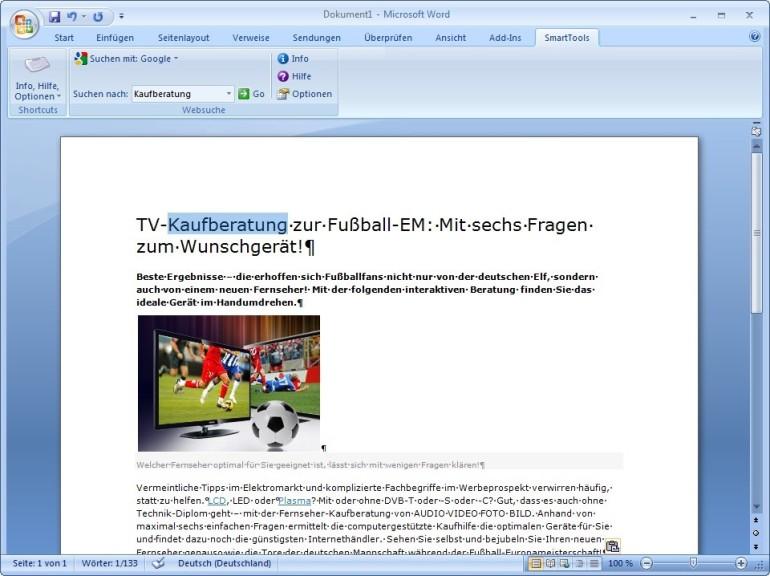 Screenshot 1 - SmartTools Websuche für Word