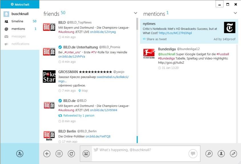 Screenshot 1 - MetroTwit