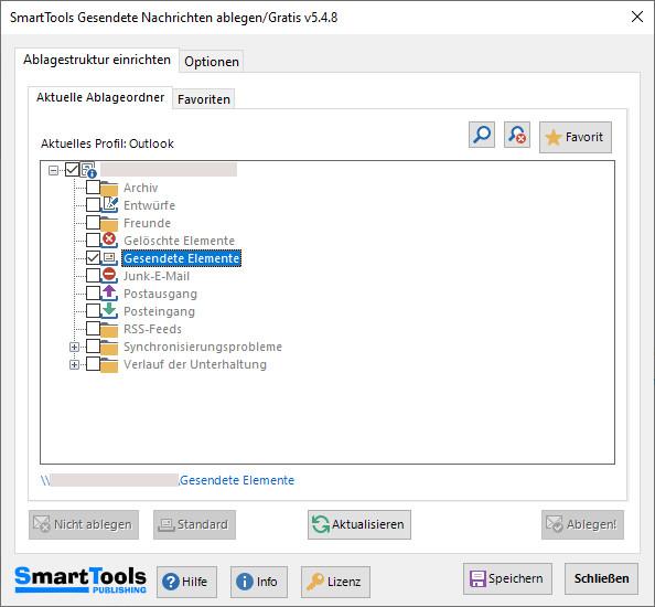 Screenshot 1 - SmartTools Gesendete Nachrichten ablegen