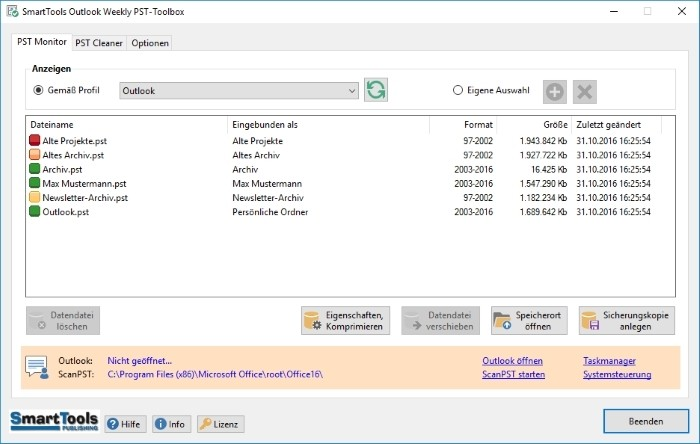 Screenshot 1 - SmartTools Outlook Weekly PST Toolbox für Outlook