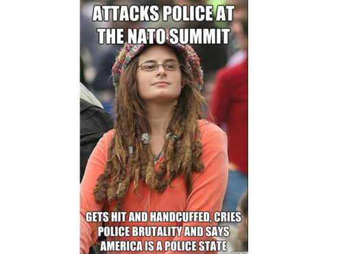 Attacks police at the NATO summit – gets hit and handcuffed, cries police brutality and says america is a police state © zipmeme.com