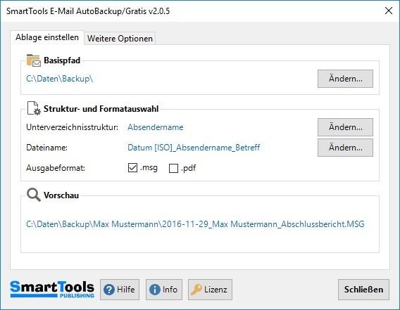 Screenshot 1 - SmartTools E-Mail AutoBackup für Outlook