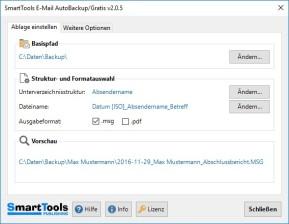 SmartTools E-Mail AutoBackup für Outlook