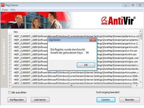 Avira AntiVir RegistryCleaner ©COMPUTER BILD