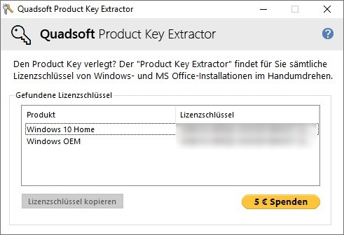 Screenshot 1 - Product Key Extractor
