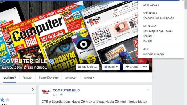 Facebook English Upside Down © Facebook, COMPUTER BILD