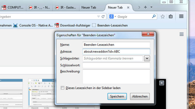 Firefox: Per Lesezeichen beenden ©COMPUTER BILD