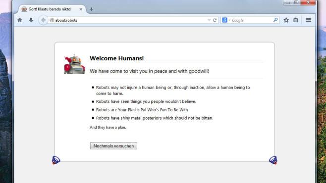 Firefox klärt auf: Roboter kommen in friedlicher Absicht ©Mozilla, COMPUTER BILD