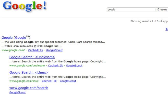 Google: So sah die Suchmaschine 1998 aus ©Google, COMPUTER BILD
