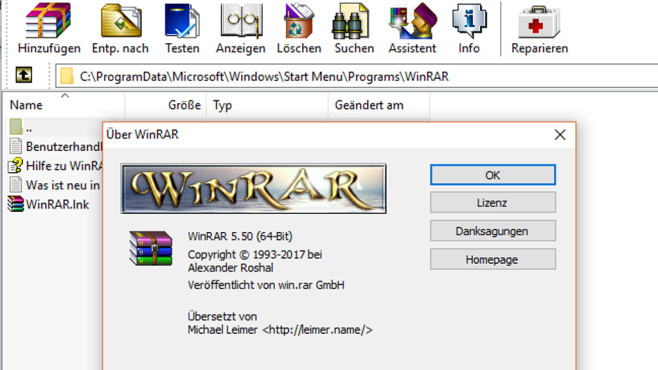 WinRAR: Animation(en) in der Versionsinfo © COMPUTER BILD
