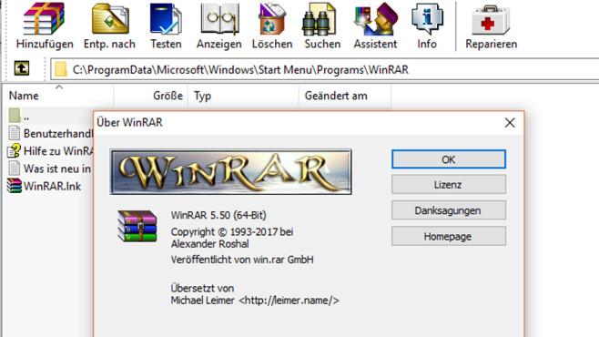 WinRAR: Animation(en) in der Versionsinfo ©COMPUTER BILD