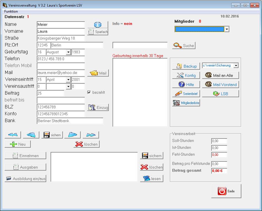 Screenshot 1 - Vereinsverwaltung