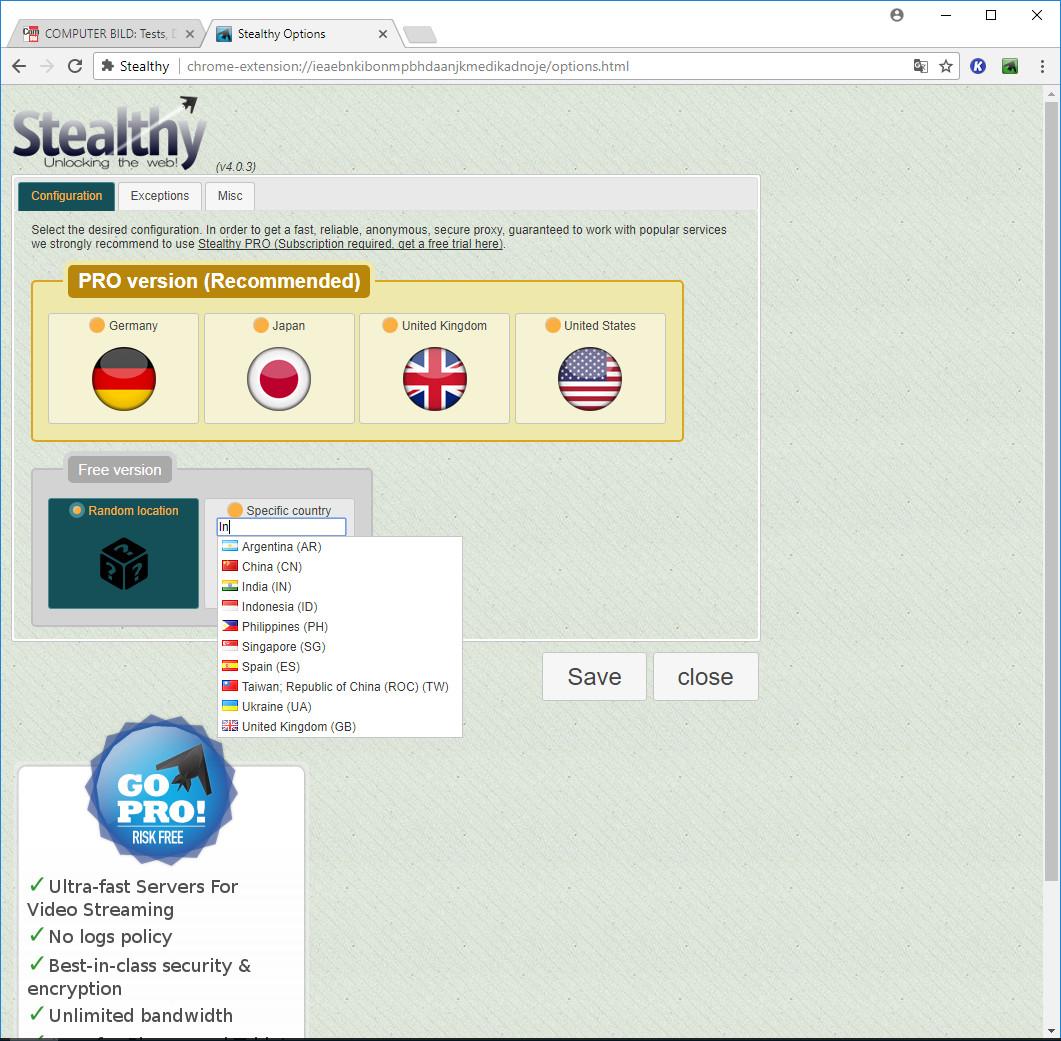 Screenshot 1 - Stealthy für Chrome