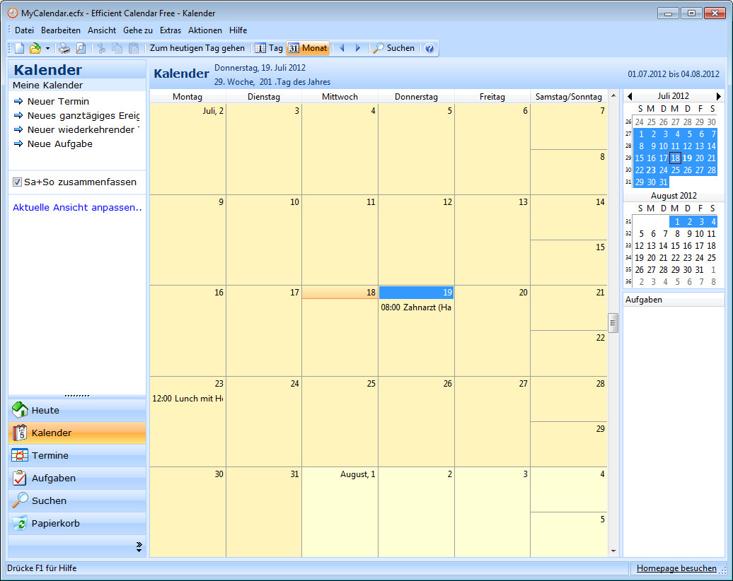 Screenshot 1 - Efficient Calendar Free Portable