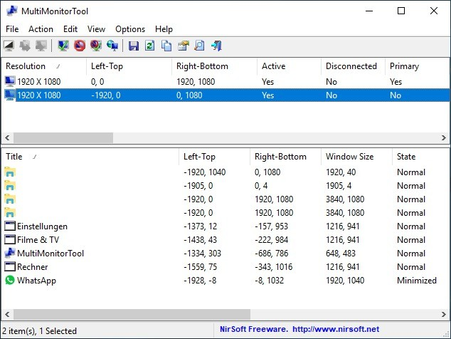 Screenshot 1 - MultiMonitorTool