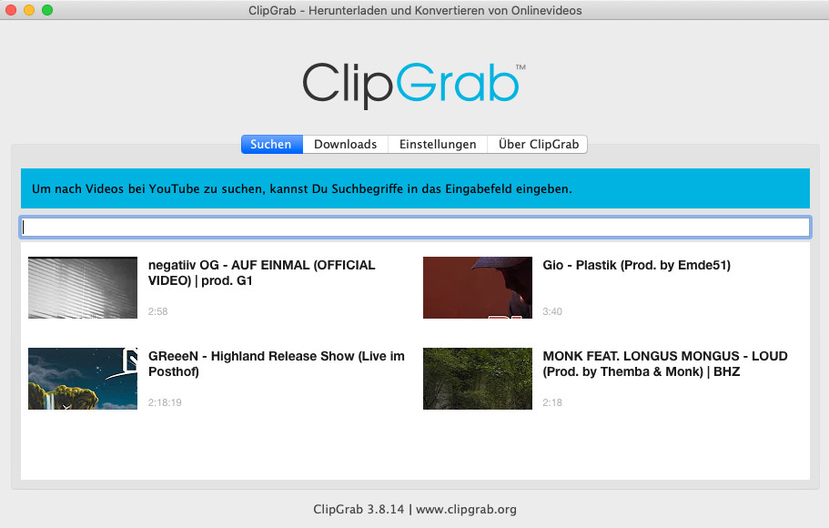 Screenshot 1 - ClipGrab (Mac)