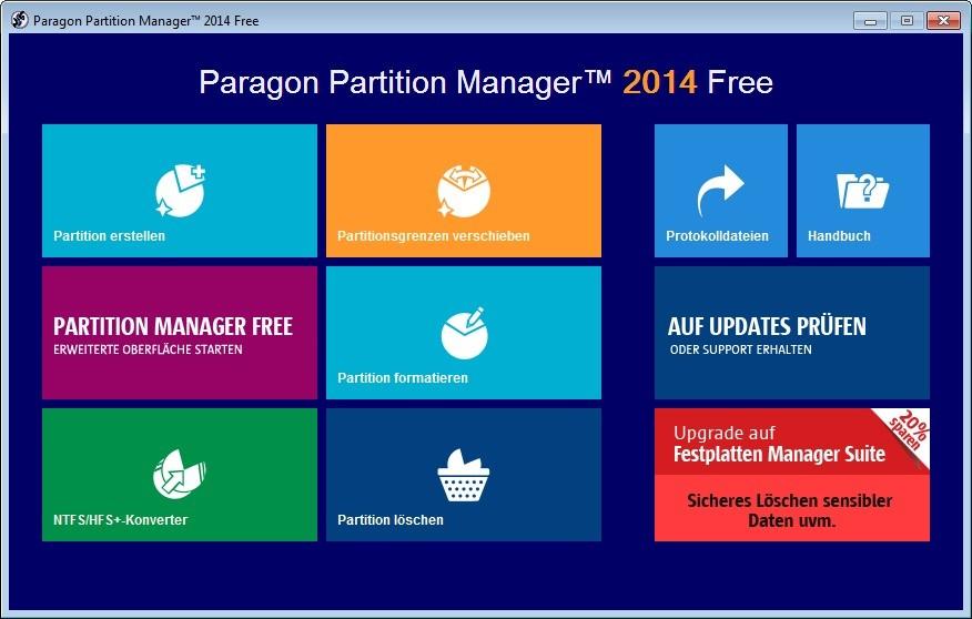 Screenshot 1 - Paragon Partition Manager Free