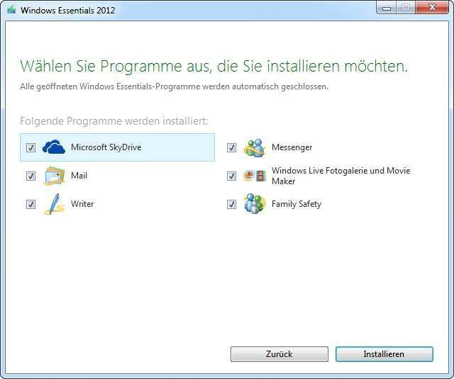 Screenshot 1 - Windows Essentials 2012
