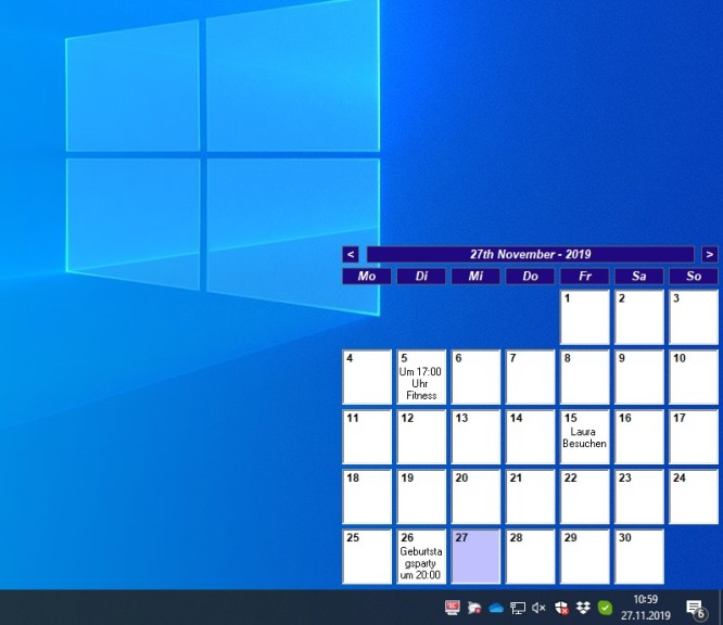 Screenshot 1 - Desktop Calendar