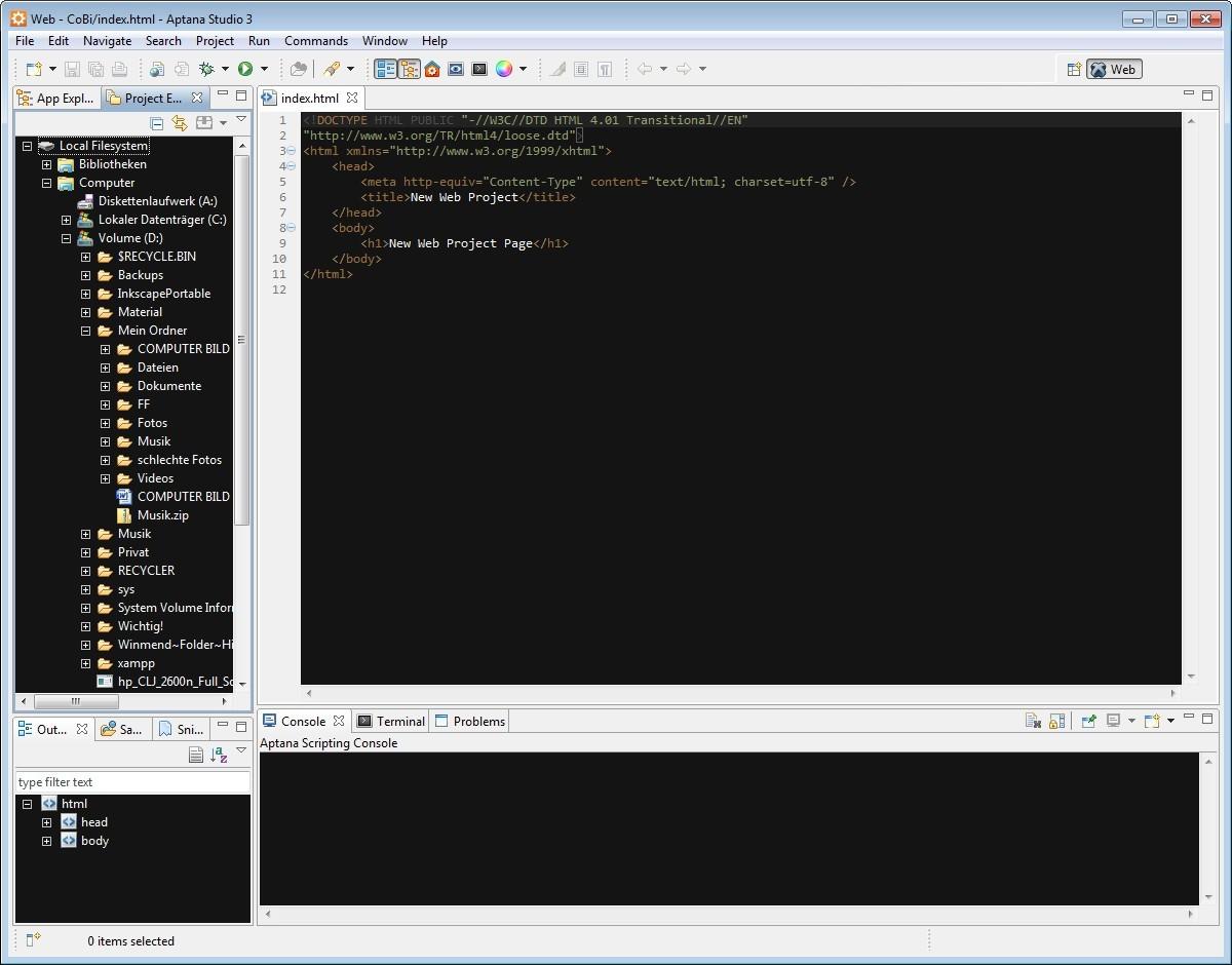 Screenshot 1 - Aptana Studio