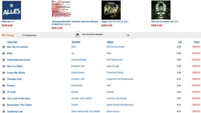 Amazon: Kostenlose MP3-Downloads ©Amazon.de