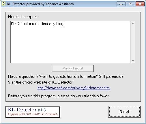 Screenshot 1 - KL-Detector