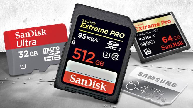 Die perfekte Speicherkarte: Brauche ich eine SD-, microSD- und SDHC-Karte? Speicherkarten sind die Gedächtniserweiterungen für Kamera, Smartphone & Co.: Hier gibt es Infos zu den wichtigsten Speicherkartentypen.©Sandisk, Samsung, Gunnar Assmy – Fotolia.com