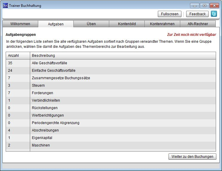 Screenshot 1 - Trainer Buchhaltung