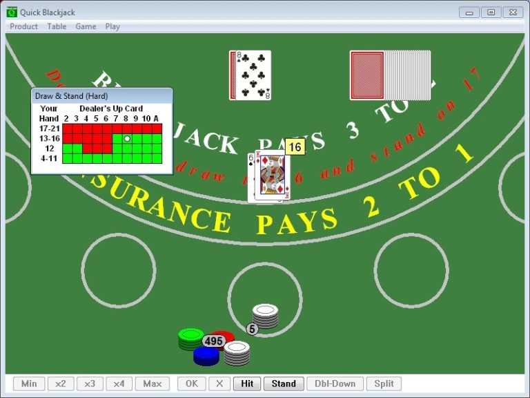 Screenshot 1 - Quick Blackjack Portable
