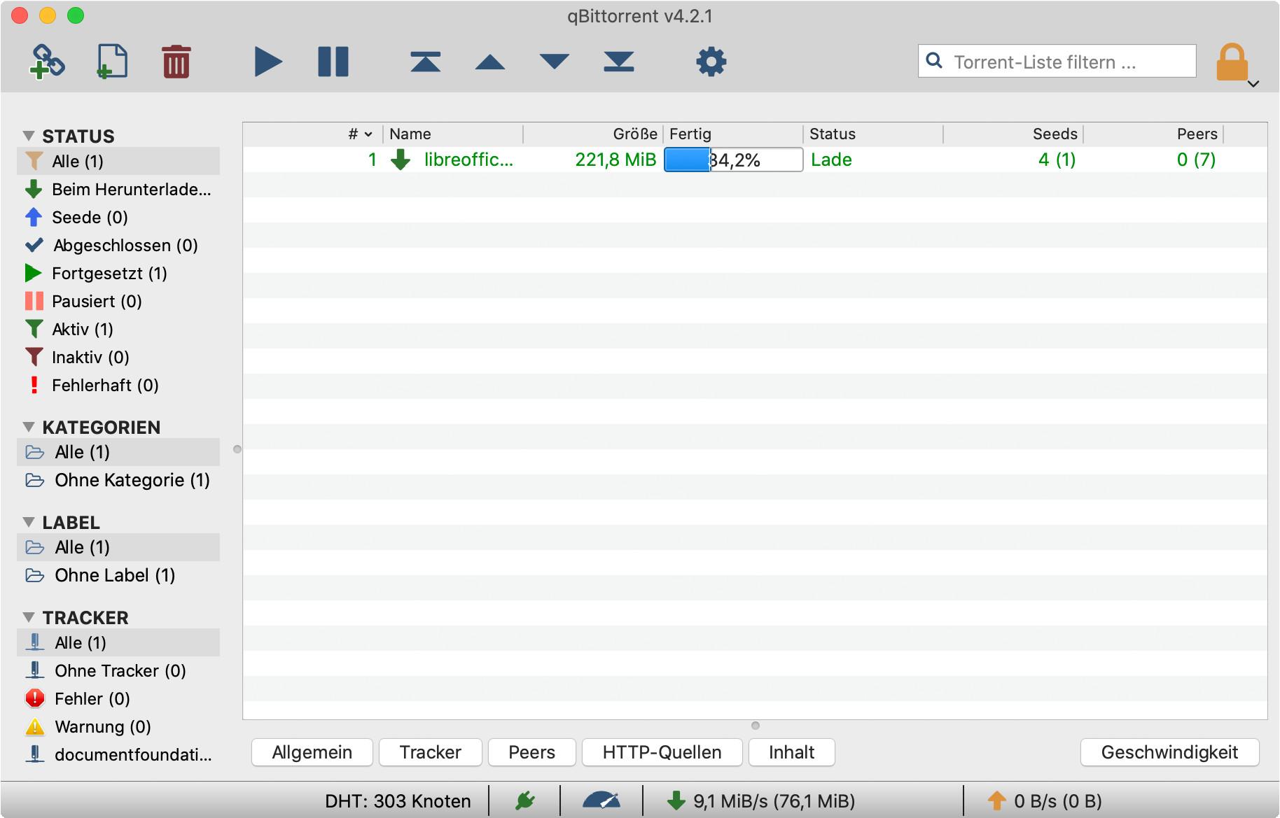 Screenshot 1 - qBittorrent (Mac)