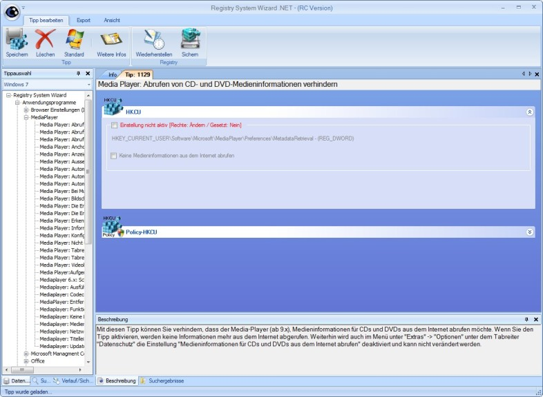 Screenshot 1 - Registry System Wizard .NET