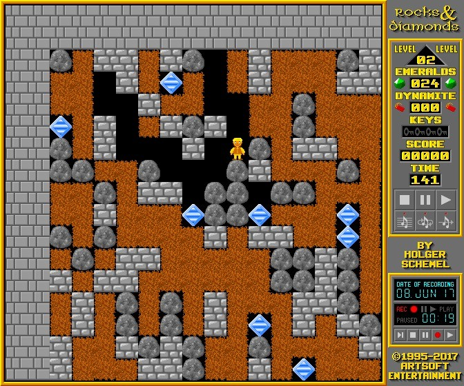 Screenshot 1 - Rocks'n'Diamonds Portable