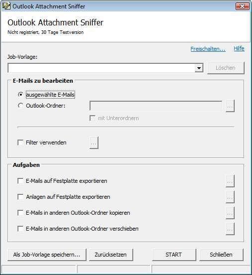 Screenshot 1 - Outlook Attachment Sniffer