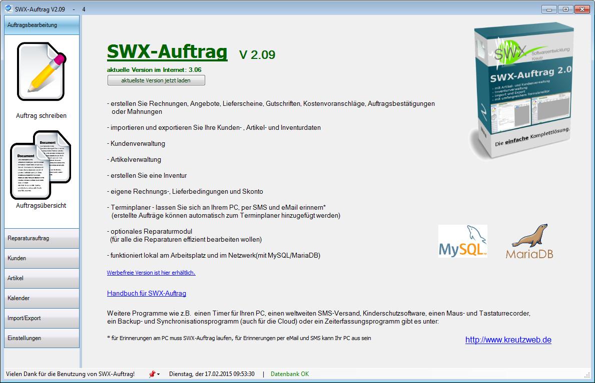 Screenshot 1 - SWX-Auftrag