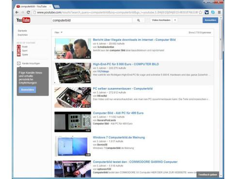 Optimierte Suche nach Videos ©YouTube