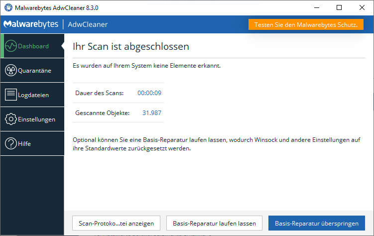 Screenshot 1 - AdwCleaner