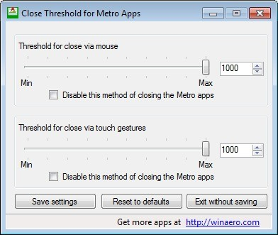 Screenshot 1 - Close Threshold for Metro Apps