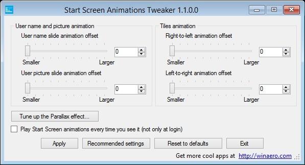 Screenshot 1 - Start Screen Animations Tweaker