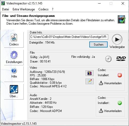 Screenshot 1 - VideoInspector Portable